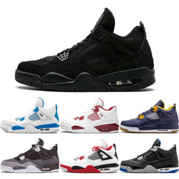 Wholesale 4s rubber - 4 Basketball Shoes Men Pure Money Royalty Toro Bravo Raptors Black Cat Bred Oreo Fire Red Thunder Mens 4S Trainers Sports Sneakers US8-13