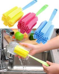 Wholesale tea coffe - Kitchen Cleaning Tool Sponge Brush For Wineglass Bottle Coffe Tea Glass Random Color