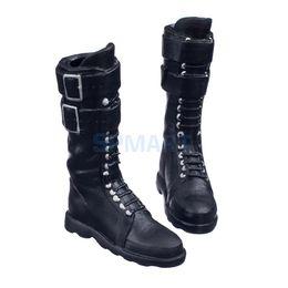 2019 figurines féminines Lacets noirs à l'échelle 1/6 Up Buckle Flat Long Boots Bottes Chaussures pour 12 pouces Action Figure Body Body figurines féminines pas cher