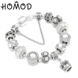 corona de la reina blanca Rebajas HOMOD Queen Crown Jewelry Silver Charm Bracelet Bangles con cuentas de Murano blanco se adapta a la pulsera para mujeres Diy Jewelry