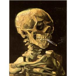 2019 pintura da mão da arte famosa Reprodução pintado à mão das pinturas a óleo de Vincent van Gogh CRÂNIO COM CIGARRO ARDENTE da lona pintura da mão da arte famosa barato