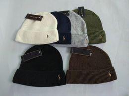 Wholesale white rain hat - Fashion men winter polo beanie men hat casual wool knitted sports cap ski gorro hight quality skull caps with original tag