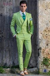 2019 cravatta verde chiaro giubbotto Di alta qualità Due pulsanti verde chiaro dello sposo smoking Notch bavero Groomsmen Mens Wedding Business Prom abiti (giacca + pantaloni + Vest + Tie) NO: 1363 cravatta verde chiaro giubbotto economici