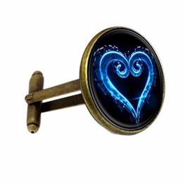2019 okkulter schmuck FT-CK150 Handgemachte Kingdom Hearts Emblem Symbol Glas Stulpeverbindung Personality Occult Geschenk senden von Mann-Qualität Manschettenknöpfe Schmuck günstig okkulter schmuck