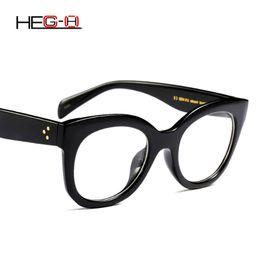 71f8a29591 HEG-H New Women Eyeglasses Frame Fashion Glasses With Clear Lenses Circle  Glasses Cat Eye Rand Designer lunettes rondes H086