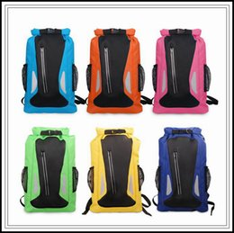 Wholesale Water Arts - 6 Colors 25L Outdoor Water Sports Rafting Bag Camping Beach Climbing Bag Waterproof Dry Storage Bags Adjustable Strap Backpack CCA9564 20pcs