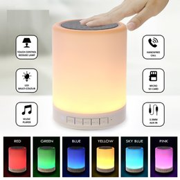 Wholesale Wireless Light Switches - led Night Light Bluetooth Speakers Portable Wireless Music Speaker Smart Touch Control Color LED Bedside Table Lamp Speakerphone TF Card