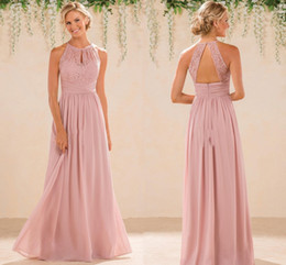 Blush Cheap A Line Lace Chiffon Bridesmaid Dresses A Line High Neck Backless Long Summer Beach Garden Wedding Guest Evening Party Gowns