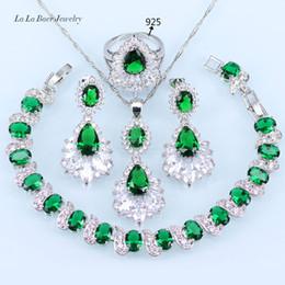 Изумрудный браслет онлайн-LB 925 Silver Color Green Созданный Изумрудный белый комплект Zircon для женщин Браслет / Подвеска / Ожерелье / Серьги / Кольцо