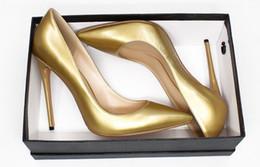 Canada couleur de ruban d'or bout pointu mode chaussures à talons hauts talon mince de grande taille robe de mariée robe de soirée cheap size 11 women gold heels Offre