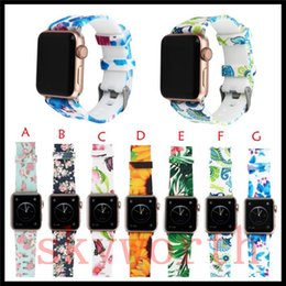 smart watch accessories wholesale Coupons - Silicone Sport Band Replacement For Apple Watch 4 3 2 1 Flower Band Wrist Strap With Adapters Accessories 44mm 40mm 42mm 38mm