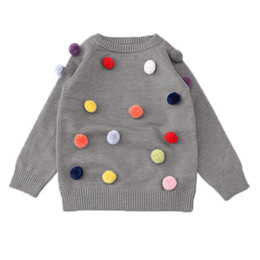 Wholesale knitted ball covering - Spring Autumn Kids Sweater Colored Balls Baby Knitted Boys Sweaters Baby Cardigan Colorful Sweater Kids Cardigan Girl Sweaters