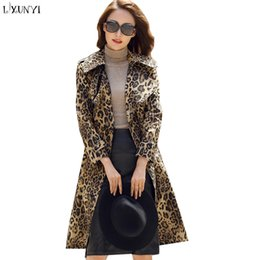 dbb05d059c35 LXUNYI XXXL Long Leopard Trench Coat For Women Slim 2018 Autumn Fashion Coat  Female Sashes Trenchcoat Plus Size Herfst Pockets