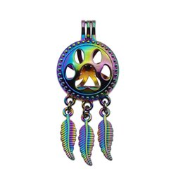 Wholesale Animal Print Essentials - 5pcs Rainbow Color Paw Print Dreamcatcher Pearl Cage Locket Pendant Essential Oil Diffuser DIY Jewelry Locket For Oyster Pearl