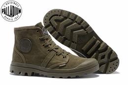 Argentina PALLADIUM Pampa Hi 52352 Army green Sneakers Cómodos botines de alta calidad con cordones de lona de los hombres zapatos casuales tamaño 39-45 cheap palladium shoes Suministro