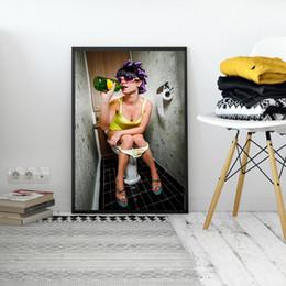 Pintura de mujeres desnudas fotos online-Creativo Bar Aseo Chica Pintura Interesante WC Decoración de la pared Restaurante Mujeres Fotos desnudas Baño Cerveza Arte corporal Carteles