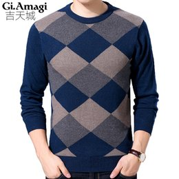 New 2017 Autumn Fashion Brand Casual Sweater O-Neck Argyle Slim Fit Kniing Mens  Sweaters And Pullovers Men Pullover Men M-3XL a8a1a2e09d