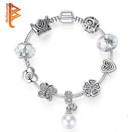 Wholesale BELAWANG Mode Style Européen Bracelets En Argent Simulé Perles Charme Bracelets Avec CZ Pour Les Femmes De Bijoux Fabrication