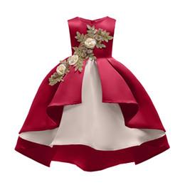 Nova arrivl bebê meninas vestidos de verão floral 2-8 anos crianças vinho vermelho cor champanhe assimétrico vestido plissado clothing frete grátis de