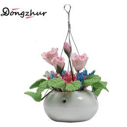 Wholesale Clay Pot Wholesalers - Wholesale- Dongzhur Doll House Mini Flower Pattern Clay Flower Purple Rose White Hanging Pot Dollhouse Miniatures 1:12 Accessories Decor