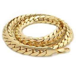"Enlace cubano de oro de 14k para hombre. online-Mens 10mm Miami Cuban link Chain 14k Gold Plated 24 ""inch Necklace"