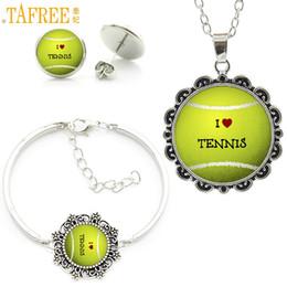 Wholesale Photo Earrings - TAFREE fashion color Tennis ball photo jewelry set love tennis sports style women flower necklace earrings bracelet sets SP661