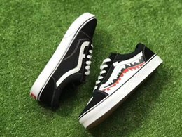 Wholesale Mens Hip Hop Shoes - 2017 X Ba OLD SKOOL SHARK MOUTHS Sneakers Women and Mens Black White Convas Sports Casual Shoes Hip Hop Sports Casual Shoes
