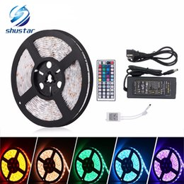 Wholesale Lead Flat - 5M SMD5050 RGB Led Strip 300led m DC12V Waterproof 300leds + 44key RGB LED controller +12V 5A 60W Power adapter