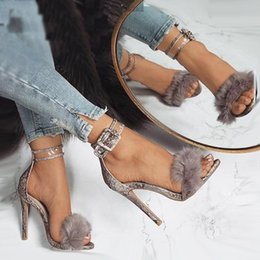 Wholesale prom camouflage dresses - Luxury Fur Snake Grain Ankle Strappy High Heels Ladies Prom Party Shoes Size 35 to 40