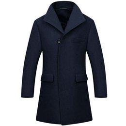 Wholesale Trench Dark Blue - Tailor-made Wool Long Man Long trench coat wool coat Winter peacoat Men's mens overcoat men's coats male clothing