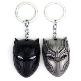 Wholesale Keychain Cool - Movie Black Panther Keychain Superhero Figure Anime Cool Zinc Alloy Car Key Ring for Men Car bag jewelry