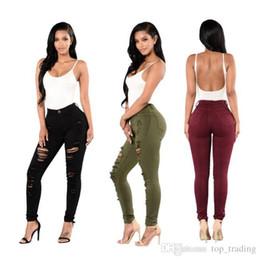 Mujeres apenado rasgado Jeans Slim Skinny Hole Denim Pants Diseñador de moda Sexy Hip Hop Plus Size 3XL 153 desde fabricantes