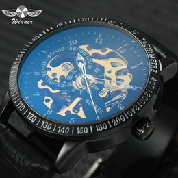 Скелет победителя случая черный онлайн-WINNER Classic Black Skeleton Auto Mechanical Watch Men Anti-reflective Coating Case Top  Fashion Wristwatches Man