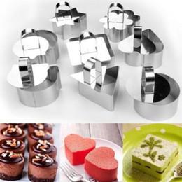 Wholesale bake mini mold - Mini Mousse Cake Mold Stainless Steel Square Round Heart Shape Cake Mousse Mould Mousse Ring Kitchen Baking Tools CCA9650 200pcs