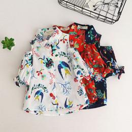 Wholesale Flower Girl Tee - Everweekend Kids Girls Sweet New Spring Shirt Print Bird Flowers Western Tops Off Shoulder Children Blouse Top Tee
