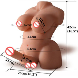 Wholesale Silicone Sex Women Love Doll - Mini sex doll shemale toys Realistic gay sex dolls for women Silicone love doll with breast big dildo lesbian masturbator sex robot dolls