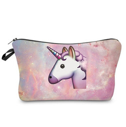 Wholesale Printing Items - Fashion unicorn 3D printed cosmetic bags multifuncition for travel zipper unicorn bag for cosmetic makeup items Free Shipping