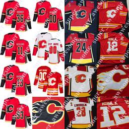 al macinnis Promotion Jersey des Flames de Calgary Johnny Gaudreau Elias Lindholm Jarome Iginla Sam Bennett Michael Frolik Al MacInnis Matthew Tkachuk James Neal