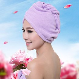 Wholesale super absorbent hair towels - New superfine fiber absorbent dry hair cap Super absorbent dry hair towel Multicolor dry hair cap T4H0205