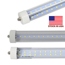 tubos de plástico leve Desconto Estoque Nos EUA + 72 W 8 pés t8 tubos led único pino FA8 8 pés tubos led light Linhas duplas LED tubo fluorescente AC 85-265V