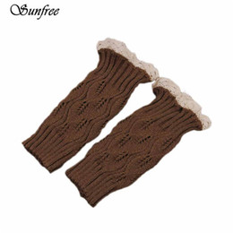 Wholesale Lace Trimmed Socks - Sunfree 2016 New Women's New Crochet Knitted Lace Trim Boot Cuffs Toppers Leg Warmers Socks Brand and High Quality Dec 28