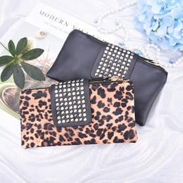 556e97cf2cb4f1 Discount wristlet wallet cell phone holder - Women Handbag Leopard Print  Clutch Bag Women Rivet Zipper