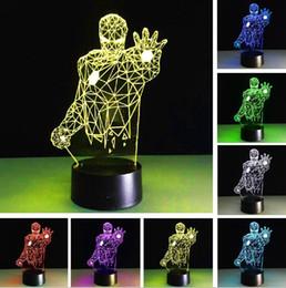 interrupteur à gradateur tactile à télécommande Promotion Nouveau Super Héros Avengers Mavel Iron Man 3D RGB Couleur Gradation Gradient Commutateur Tactile Télécommande Veilleuses Enfants Chambre Ventilateurs Cadeaux