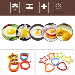 Wholesale Heart Silicone Baking Mould Mold - Handle heart-shaped circular Silica gel egg omelet mould Omelette Pancake pancake mold Cake baking tool T4H0474