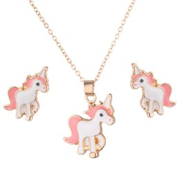 Colar Brincos Cavalo Unicórnio Colar Brinco Jóias Rosa Meninas Presente Jóias de Fornecedores de coruja pingentes de ouro branco