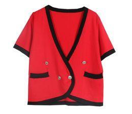 Wholesale knitted tee shirt - Summer Women Short Sleeve Female Tee Tshirt Design Knitted Casual sandro t-shirt harajuk Tops Sweater jumper