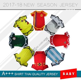 Wholesale grey baby jumpsuit - 2018 World Cup Spain Baby soccer Jerseys Cotton Short Sleeves Belgium Jumpsuit Baby Triangle Climb Clothes Loveclily 18 19 Argentina baby's