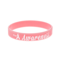 pink cancer awareness beads Coupons - OneBandaHouse 50PCS Lot Motivation Bracelet Hope Ribbon Breast Cancer Awareness Silicone Wristband Pink Fashion Arm Band