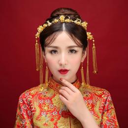 Disfraz de novia china online-2018 nueva novia china tocado disfraz borla traje de Coronet