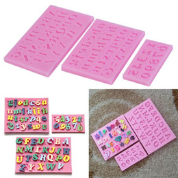 Wholesale Home Molds - Wholesale- 3 pcs Home DIY Baking Tools Alphanumeric Soap Mould Square Silicone Pink English Letters & Numbers Fondant Mold Cake Molds